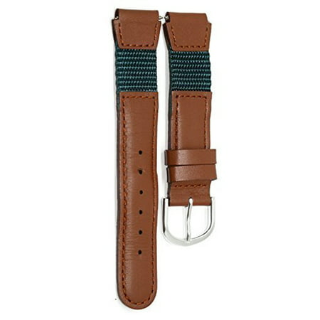 16MM BROWN TEAL NYLON LEATHER WATCH BAND STRAP FITS SWISS ARMY (Wenger Nylon Strap)