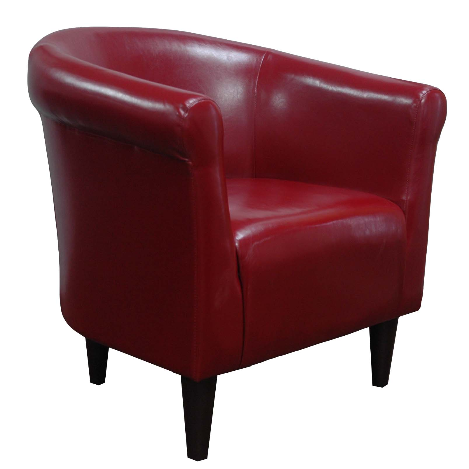 Newport Merlot Red Leatherette Club Chair by Overman