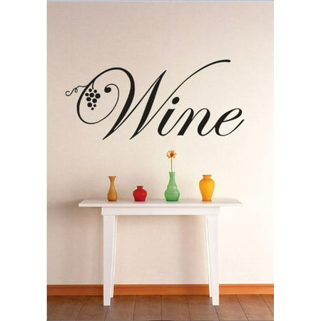 Custom Wall Decal Vinyl Sticker : Wine Grapevine Kitchen Dining Image Quote Bedroom Bathroom Living Room Mural : 16 X40