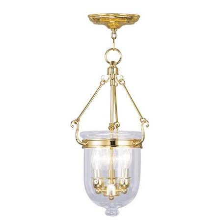 Pendants Porch 3 Light With Clear Glass Polished Brass size 10 in 180 Watts - World of Crystal