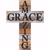 Wall Cross-Amazing Grace-Rustic (12 x 16 x .75)