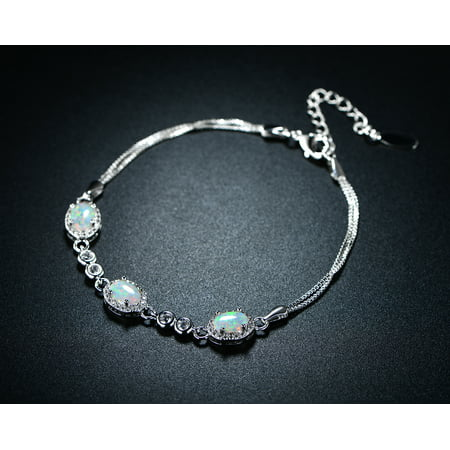 Rhodium-Plating White Fire Opal Oval Double Strand Bracelet
