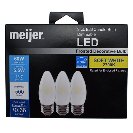 Meijer 60W E26 Candle Glass Dimmable Frosted Soft White LED Light Bulb, 3pk