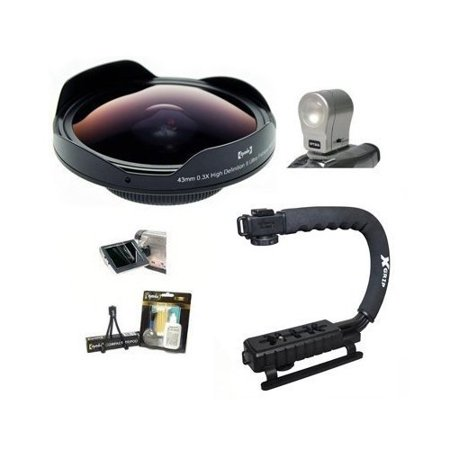 Opteka Deluxe Skaters Package with OPT-SC37FE 0.3X Ultra Fisheye Lens, X-GRIP Handle & 3 Watt Light for NV-DS60, NV-DS65, NV-GS11 and NV-GS15 Digital Camcorders