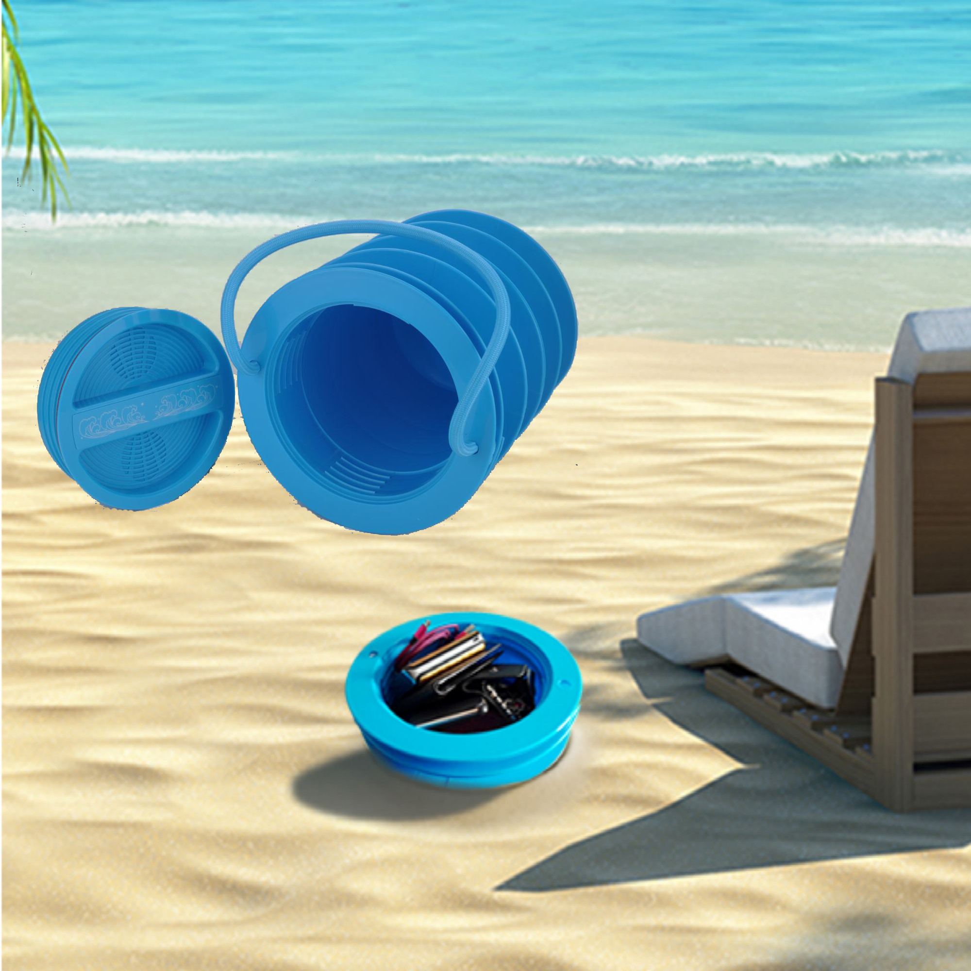 U MAX Beach Vault Safe Box Beach Storage Bucket Beach Safety Bucket Spiral  Receiver Bos   Walmart.com