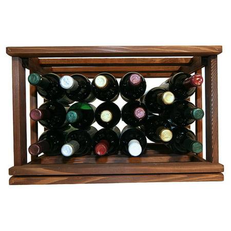 WCI Mini Stack Series Open Bin Wine Rack - Premium Redwood Dark Walnut (Premium Box Wine)
