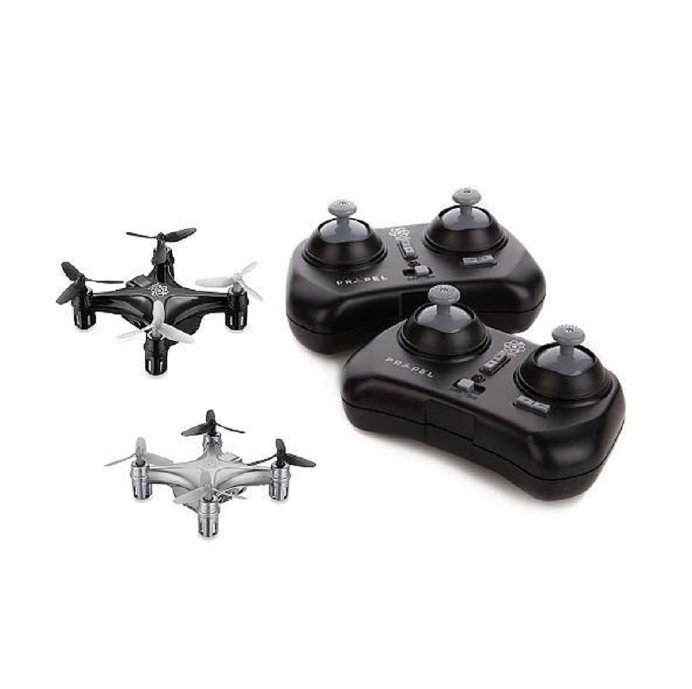 Propel Atom 1.0 Micro Drone Indoor/Outdoor Quadrocopter 2-Pack (Black/Silver)