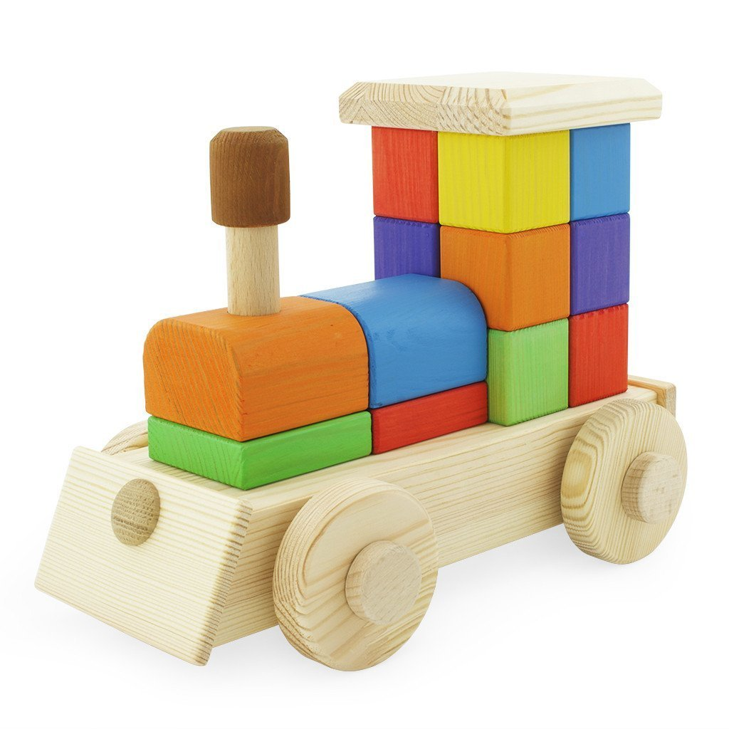 Large Wooden Color Puzzle Train Stacking Blocks (Handmade In Europe) Montessori Toy by Meggie Jane