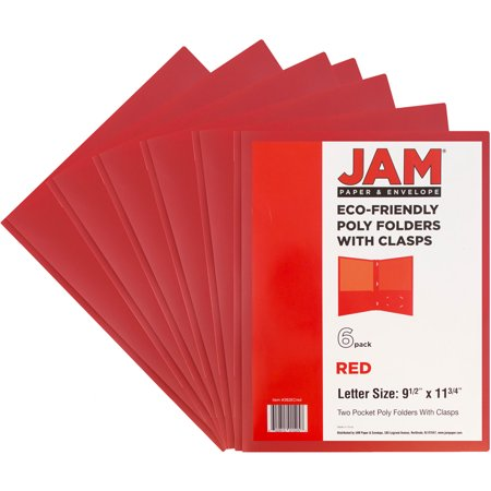 JAM Paper Plastic Eco Two Pocket Presentation Folder with Clasps, Red, 6/pack