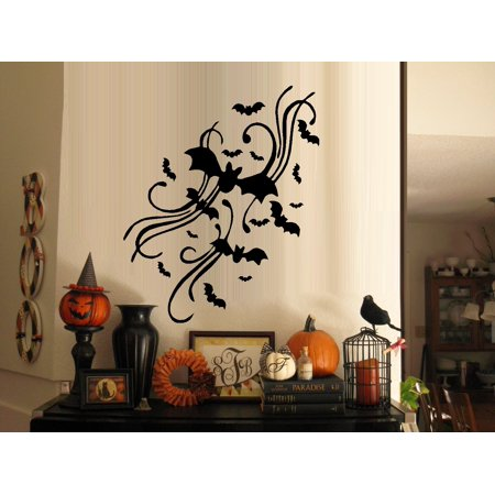 Decal ~ Bats with Scrolls: Halloween Wall or Window Decal 12