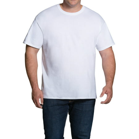 Dual Pak - Big Men's Dual Defense White Crew T-Shirts Extended Sizes, 5 Pack