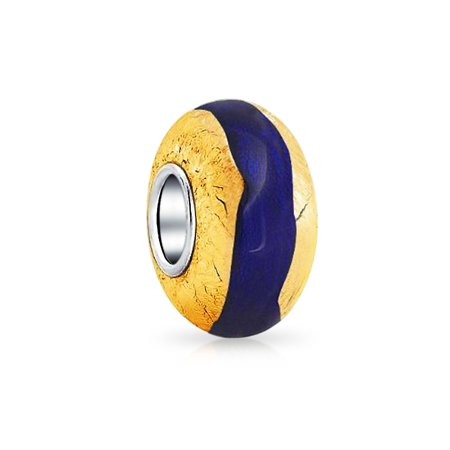 Bling Jewelry 925 Silver Blue Simulated Sapphire Glass Gold Foil Murano Glass Bead Fits Pandora