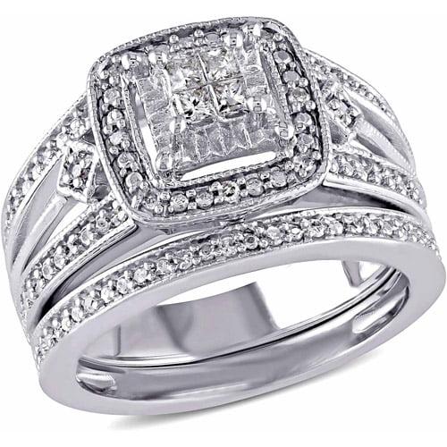 Miabella 1 4 Carat T.W. Diamond Sterling Silver Bridal Ring Set by Miabella