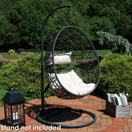 Sunnydaze Caroline Hanging Egg Chair Swing, Resin Wicker Modern Design, Indoor or Outdoor Use, Includes Beige Cushions ()