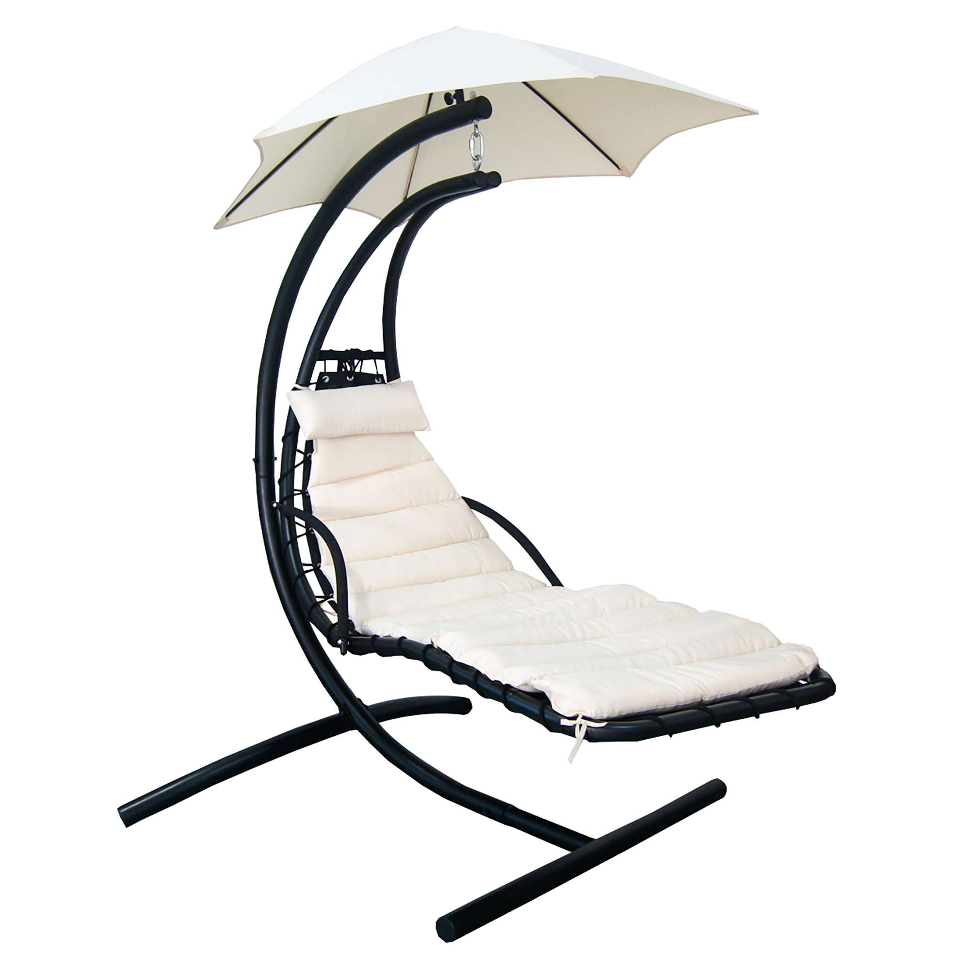 Island Umbrella Island Retreat Hanging Lounge w/ Shade Canopy in Canvas Beige