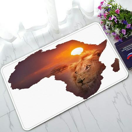 PHFZK Safari Decor African Art Wildlife Doormat, Continent Lion Sunset Doormat Outdoors/Indoor Doormat Home Floor Mats Rugs Size 30x18 inches