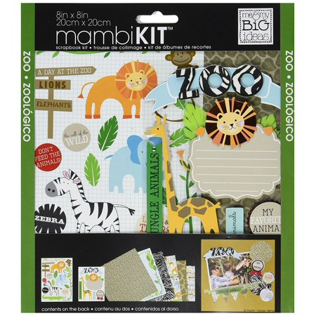 me & my BIG ideas Scrapbook Page Kit, Zoo, 8-Inch by 8-Inch