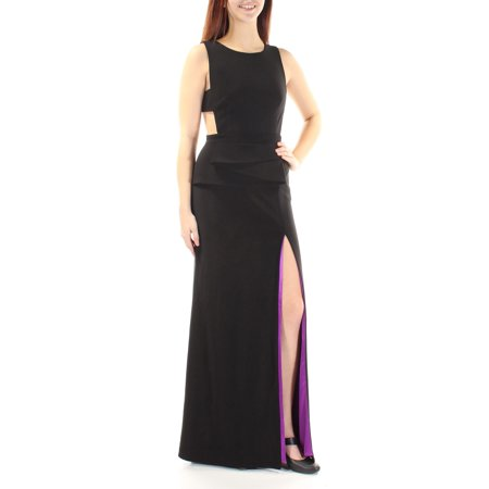 BETSY & ADAM Womens Black Slitted Cut Out Sleeveless Jewel Neck Full Length Formal Dress  Size: 0 Full Length Formal Dress