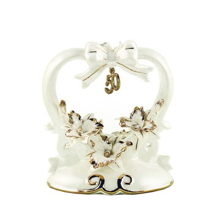 Hortense B. Hewitt Wedding Accessories 50th Anniversary Porcelain Cake Top, 4.5-Inches Tall, Porcelain cake top or table decoration celebrates 50 years.., By Sourced