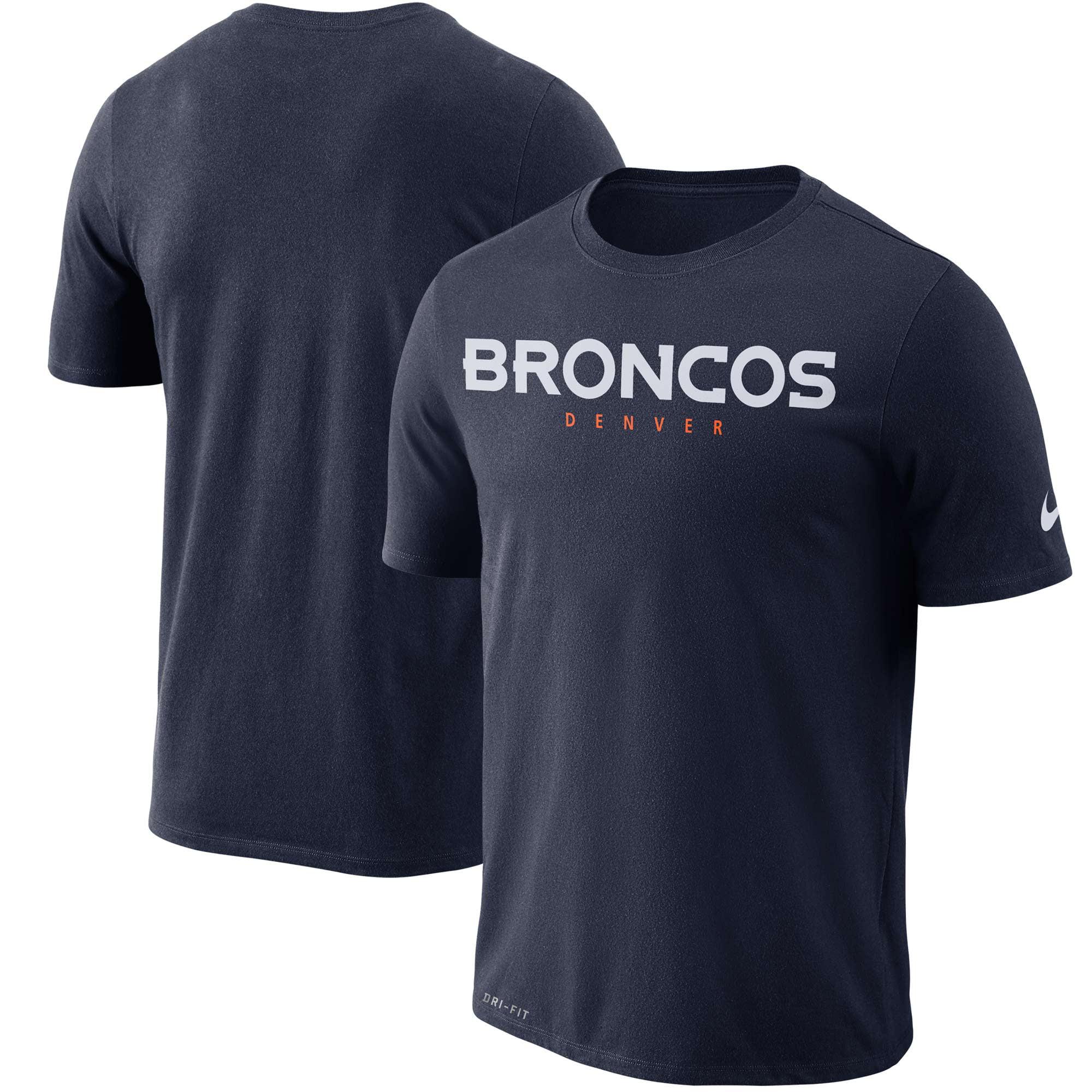 Denver Broncos Nike Dri-FIT Cotton Essential Wordmark T-Shirt - Navy