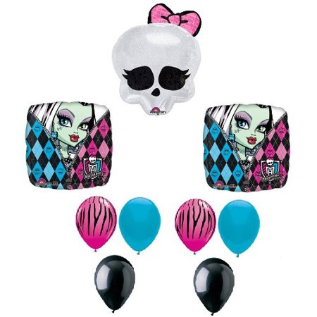 Striped Balloons (MONSTER HIGH Badge SKULLETTE Zebra Stripe Birthday Party Decoration Balloons)