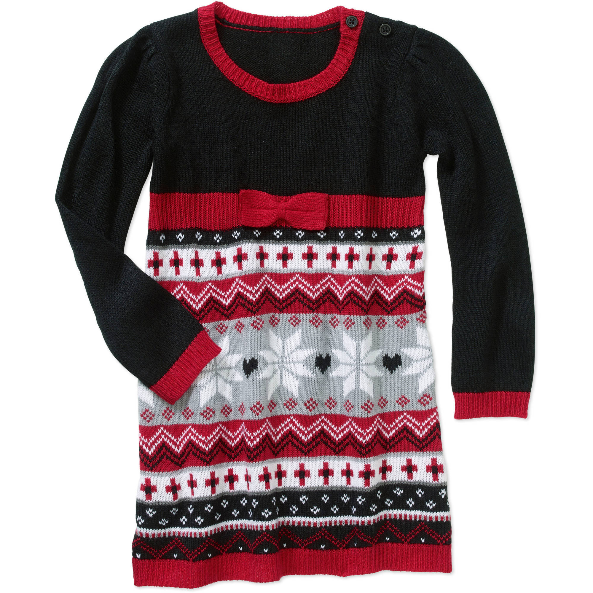 Healthtex Toddler Girl Fair Isle A-Line Sweater Dress - Walmart.com