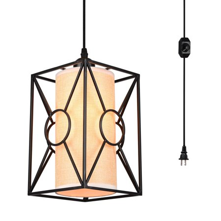 HMVPL Plug in Pendant Lighting Fixtures with Long Hanging Cord and Dimmer Switch, Industrial Metal Linen Hanging Chandelier Vintage Ceiling Lamp for Kitchen Island Dining Table Bed-Room Foyer Hallway