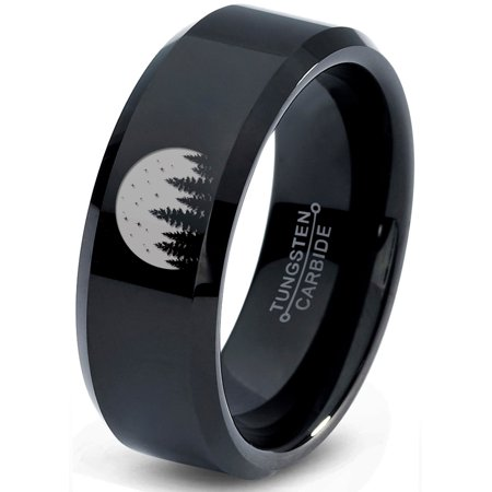 Tungsten Night Skyline Outdoor Camping Band Ring 8mm Men Women Comfort Fit Black Beveled Edge Polished
