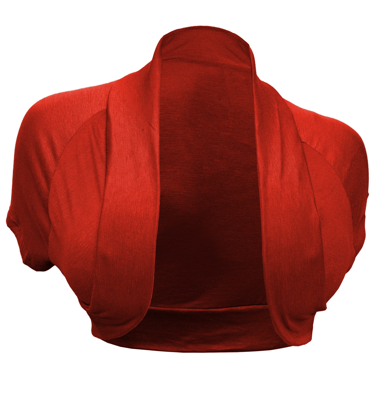 eVogues Plus Size Open Front Cropped Bolero Shrug Red2