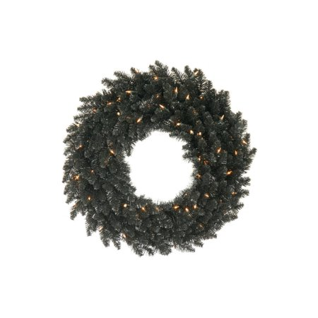 30 Black Fir Artificial Christmas or Halloween Wreath - Unlit