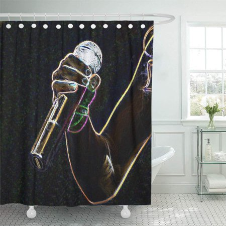 YUSDECOR Micro Microphone Music Singer Bathroom Decor Bath Shower Curtain 60x72 inch - image 1 of 1