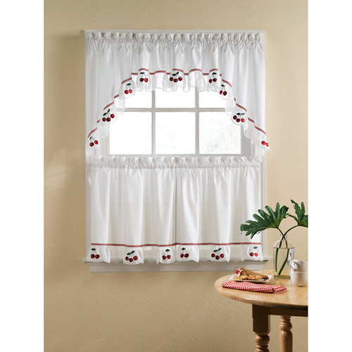 Fresh Cherries Kitchen Swag, Tier or Valance, Red