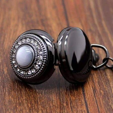 ON SALE - Cats Eye Gunmetal Vintage Style Mirror Pocket Watch Necklace Gunmetal
