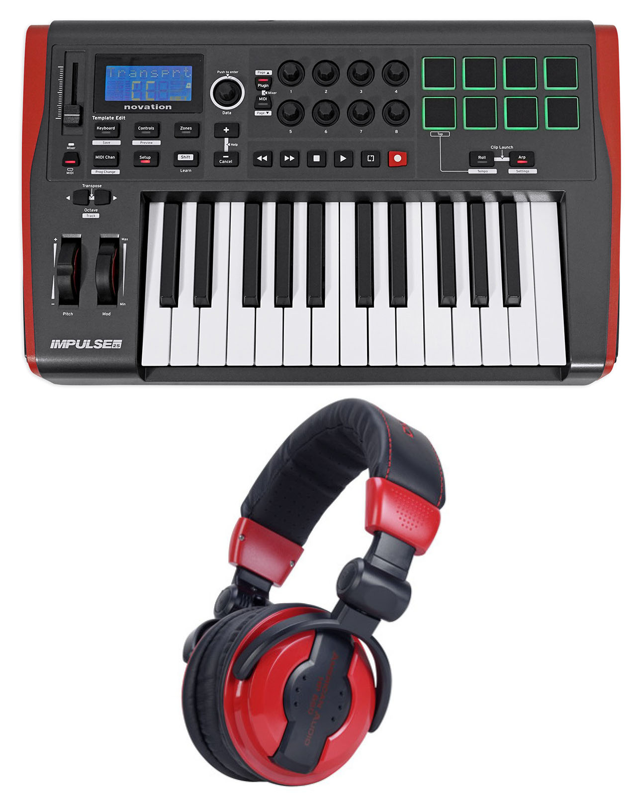 Novation IMPULSE 25 Ableton Live 25-Key MIDI USB Keyboard Controller+Headphones by NOVATION