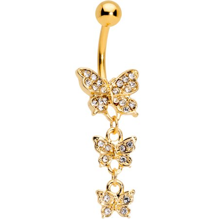 Body Candy 316L Anodized Steel Navel Ring Piercing Clear Accent Triple Butterfly Dangle Belly Button (Butterfly Dangling Belly Ring)