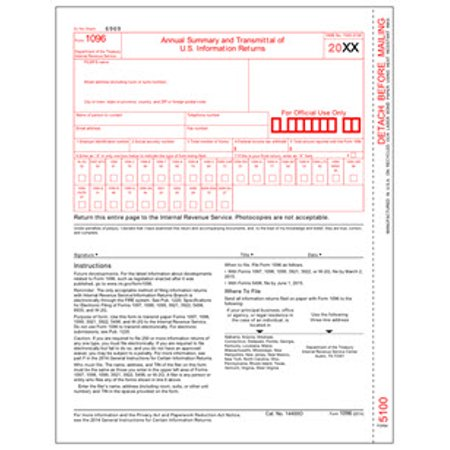 IRS Approved 1096 Laser Transmittal/Summary Tax Form - Year 2019 - 5 Forms (1096 Forms Laser)