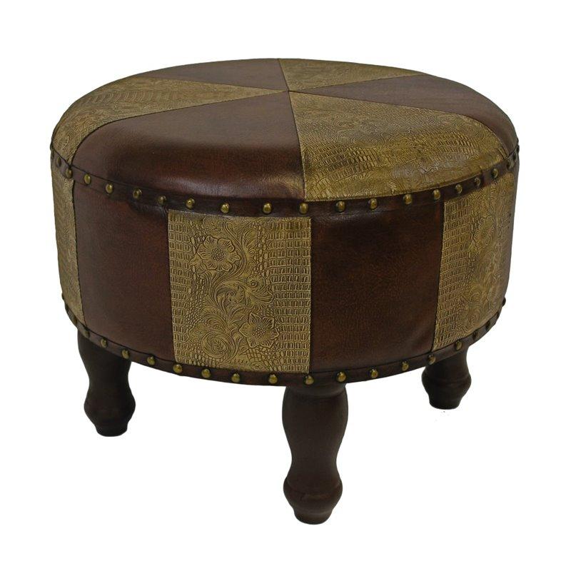 International Caravan Carmel Faux Leather Ottoman in Mix Pattern