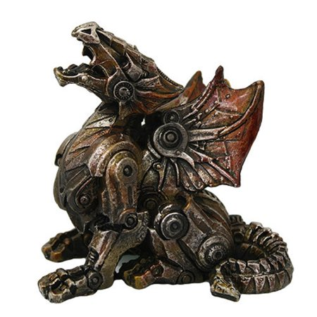 Steampunk Metal and Gears Dragon Figurine Mythical Fantasy Decoration Steam - Metal Decorations