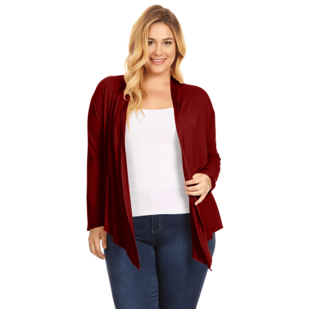 Womens Plus Size Open Front Cardigan Long Sleeve Lightweight Cardigan - (Best Red Wine For Weight Loss)