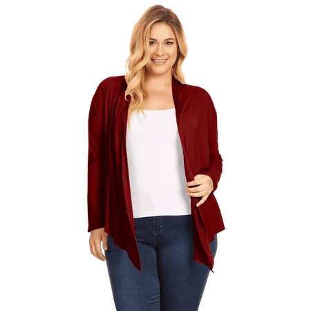Womens Plus Size Open Front Cardigan Long Sleeve Lightweight Cardigan - USA