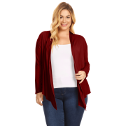 Womens Plus Size Open Front Cardigan Long Sleeve Lightweight Cardigan - USA