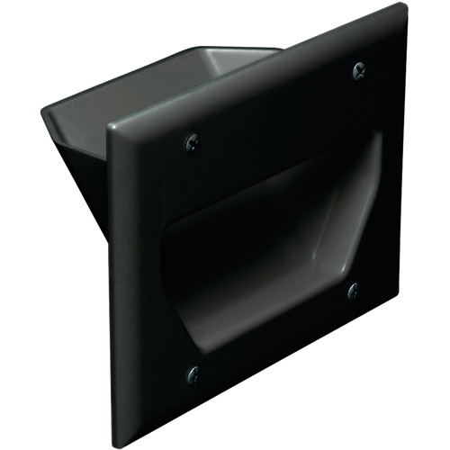 DATACOMM ELECTRONICS 45-0003-BK 3-Gang Recessed Cable Plate (Black)