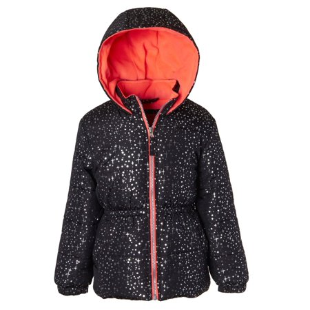 Pink Platinum Metallic Star Print Puffer Jacket Coat