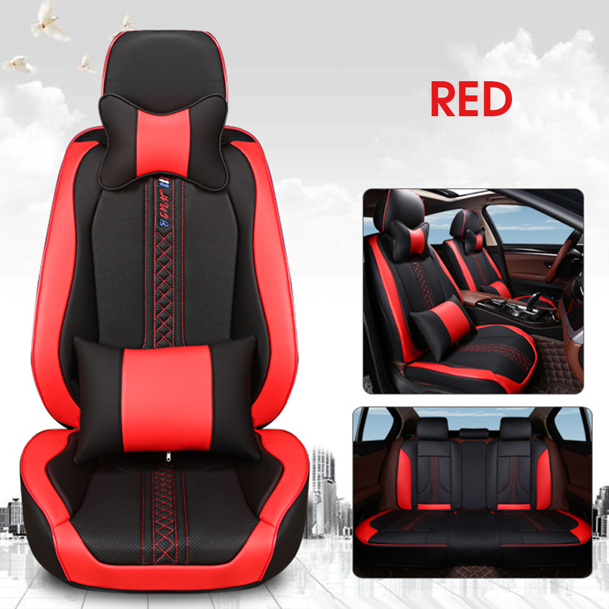 Leather Non-slip Four Season Front Rear Car Seat Covers Pillows for 5-seat Car