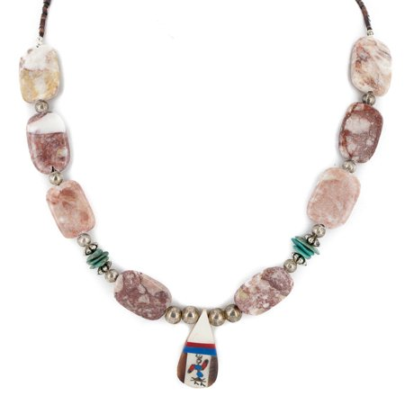 Authentic Navajo Inlay (Certified Authentic Inlay Navajo .925 Sterling Silver Natural Turquoise Agate Native American Necklace )