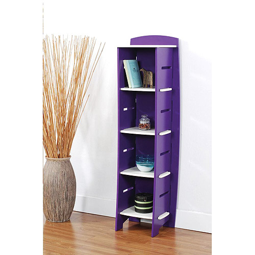 No Tools Assembly - Bookcase, Purple and White