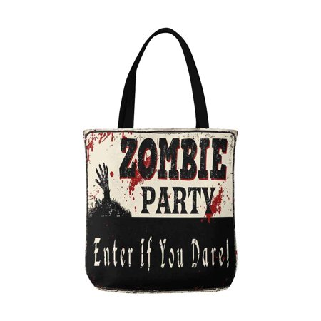ASHLEIGH Zombie Party Vintage Rusty Metal Sign Halloween Theme Canvas Tote Bag Resuable Grocery Bags Shopping Bags Perfect for Crafting Decorating for Women Men Kids - Halloween Decorating Themes