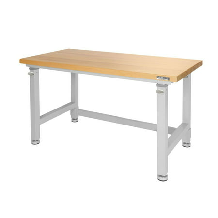UltraHD® Adjustable Height Heavy-Duty Wood Top Workbench by Seville (Best Plywood For Workbench Top)