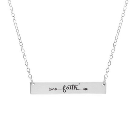 Anavia Faith Arrow Inspirational Stainless Steel Silver Bar Necklace Horizontal Pendant Jewelry with Gift Box ()