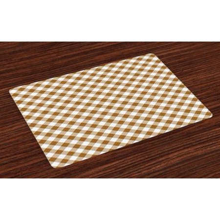 Brown Placemats Set of 4 Texture of Tartan Cloth Pattern Geometric Design Education Themed Artwork Print, Washable Fabric Place Mats for Dining Room Kitchen Table Decor,Caramel White, by Ambesonne